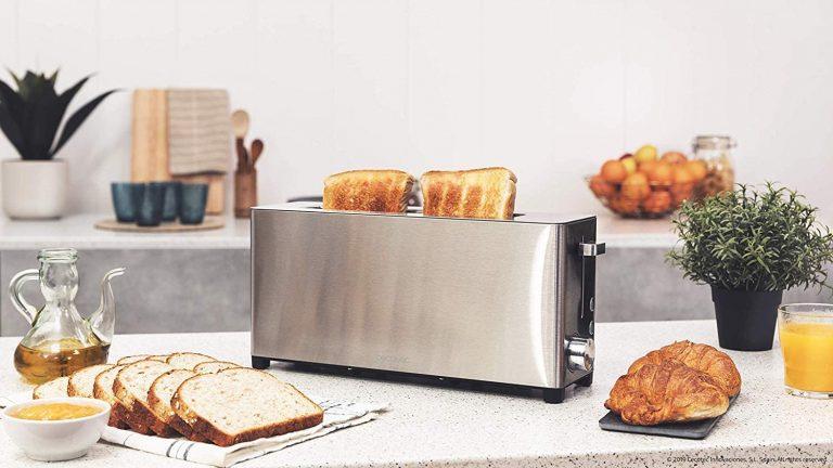 Cecotec Tostadora YummyToast Extra - de una ranura larga, acabados en acero inoxidable, 1050 W potencia, 5 niveles de potencia, 2 funciones preconfiguradas, bandeja recogemigas