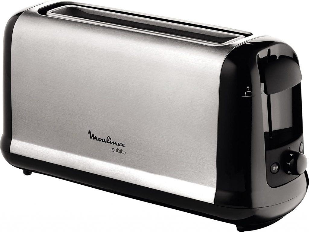 Moulinex Subito LS2608 - Tostadora 2 ranuras, potencia 1000 W y 7 ajustes/tiempo de tostado, función Stop, bandeja recoge-migas, 2 ajustes con iluminación para funciones descongelar y recalentar