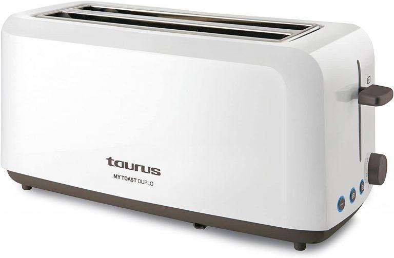 Taurus Mytoast Duplo-Tostadora (1450 W, Tres Funciones, Iluminación LED) 0 Decibeles, 2 Ranuras Extra Largas, Plástico, Color Blanco [Clase de eficiencia energética A]