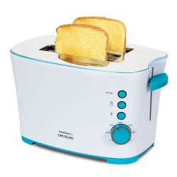 Cecotec Toast&Taste 2S - Tostadora, 7 Niveles de Potencia, Capacidad para 2 Tostadas, 3 Funciones(Tostar, Recalentar, Descongelar), Incluye Pinzas, Bandeja Recogemigas, 850 W