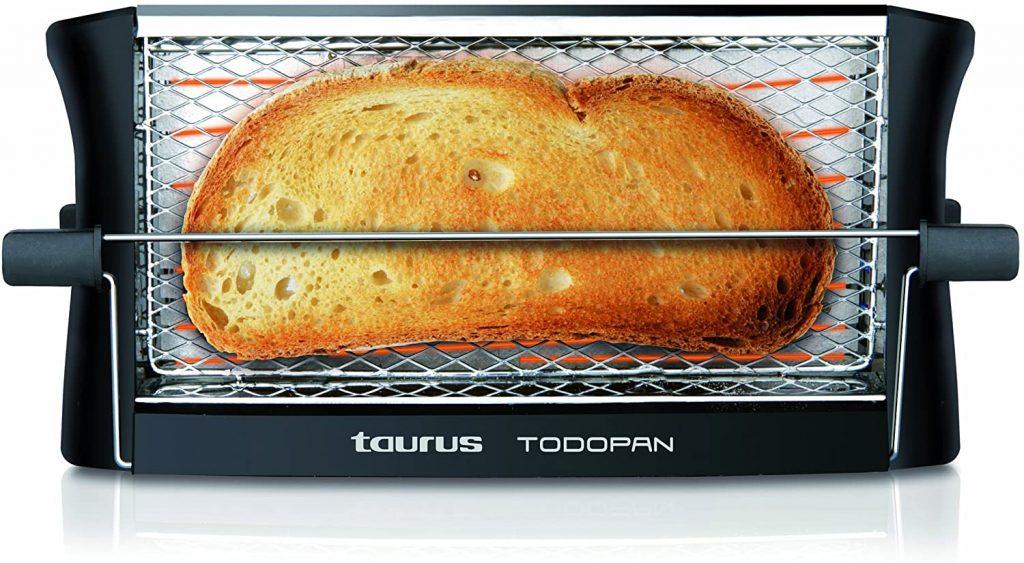 tostadora barata Taurus TodoPan - Tostadora para cualquier tipo de pan, tuesta en ambos lados, práctico sistema de fijación, varillas de soporte del pan con goma en el extremo de toque frío, 700 W [Clase de eficiencia energética A++]