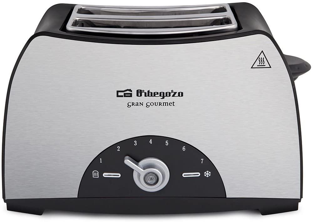 Orbegozo TO 3050 - Tostadora de pan 2 ranuras, carcasa de acero inoxidable, 7 niveles de tostado, 800 W de potencia, función descongelación y recalentamiento, bandeja recogemigas