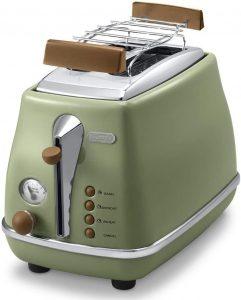 DeLonghi CTOV 2103.GR Tostadora Icona Vintage 900 W, 2 rebanadas, acero Inoxidable, verde