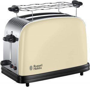 tostadora retro crema Russell Hobbs Colours Plus Tostadora (2 Ranuras Cortas y Anchas, para 4 Rebanadas), 1100 W, 0 Decibeles, Acero Inoxidable, Crema