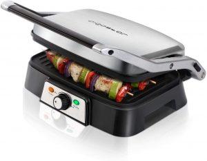 tostadora grill Aigostar Hitte 30HFA - Grill, parrilla, 1500 W de potencia, sandwichera y máquina de panini, 2 placas de cocinado independientes antiadherentes, apertura 180º, temperatura regulable. Diseño exclusivo